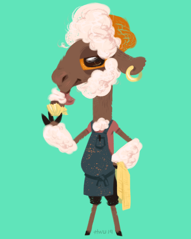 Sheep Barista with Cupcake